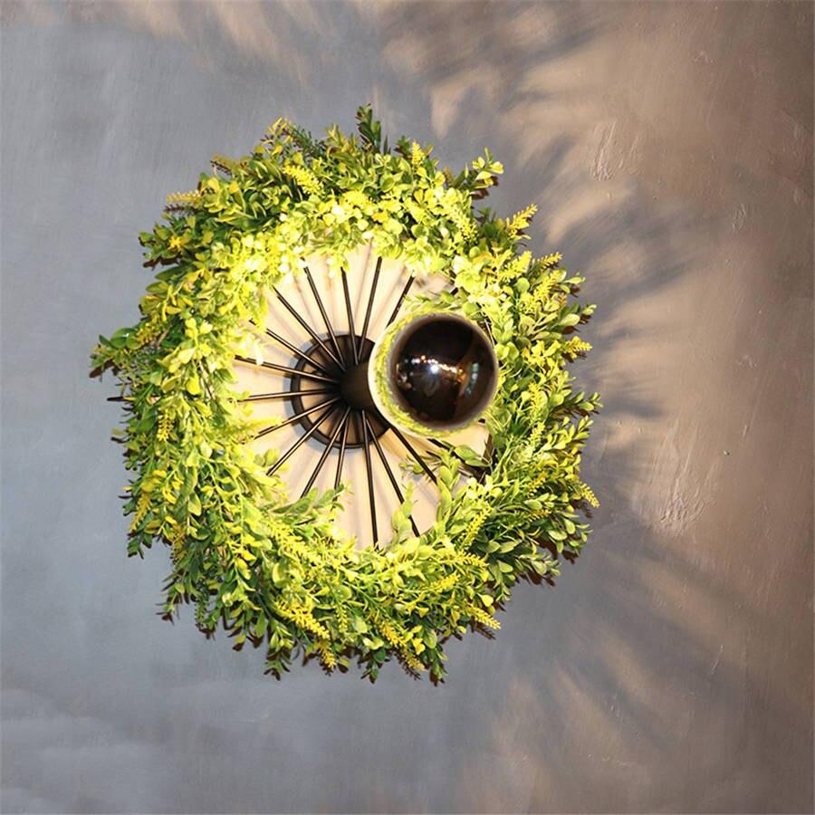 Art déco plantes artificielles anneau vintage applique pour salle à manger bar café loft décor mur LED lumière design créatif escalier lumière - 4