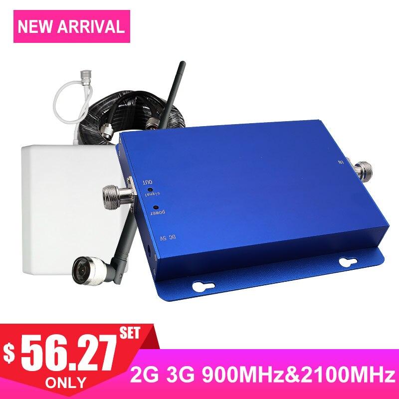 Amplificateur de Signal cellulaire GSM 900 MHz Band1 2100 MHz 2G Vioce 2G 3G répéteur de Signal Internet antenne réseau de Communication 65dB-
