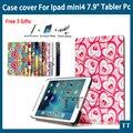 "Для Ipad mini 4 случая высокого качества PU Кожаный чехол Для Ipad mini4 7.9 ""Tablet PC + free 3 подарков"