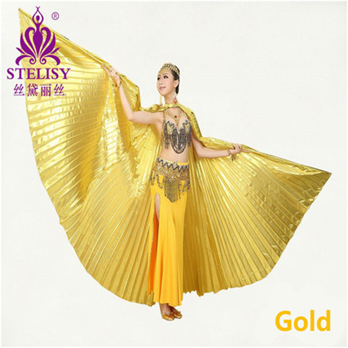 New Style Professional Belly Dancing Wing Belly Dance Transparent Fabric Isis Wings Golden 11 Colors (No Sticks)