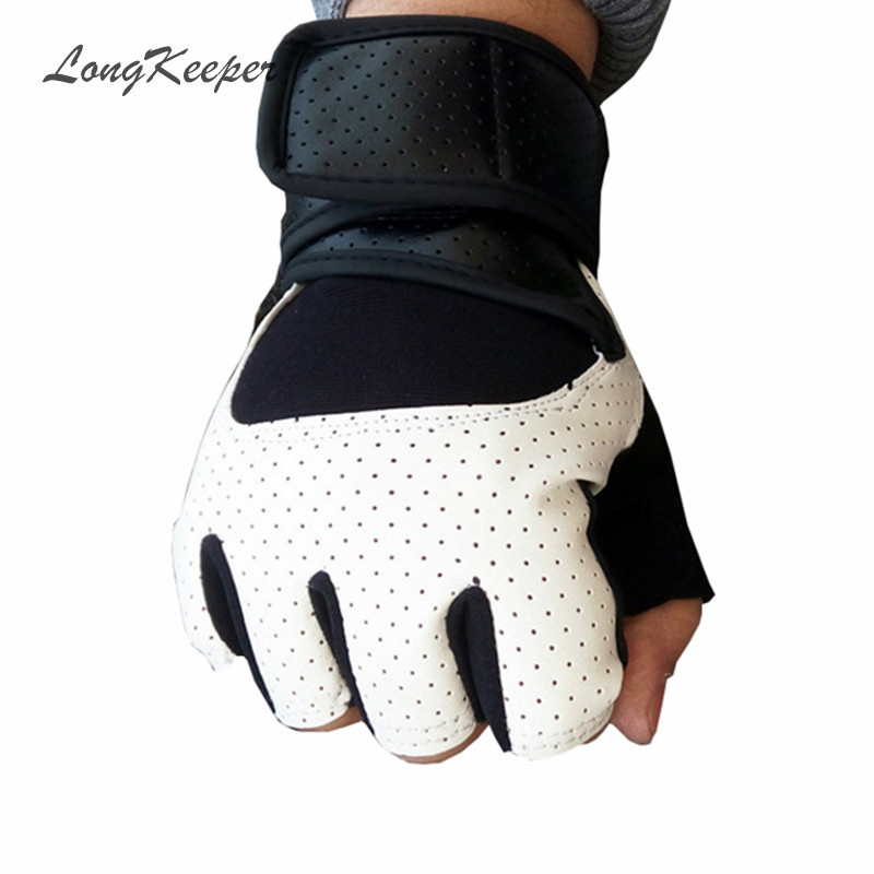 LongKeeper High Quality Mens Leather Glove Fingerless Gloves for Work Out Women Men Mittens Black White SXJ77