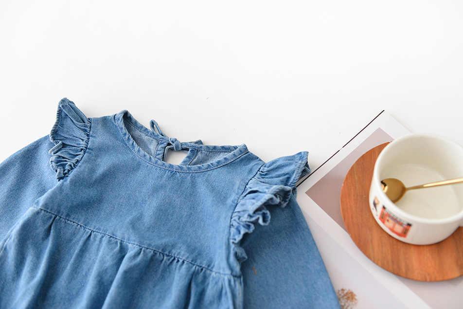 Nuevas camisetas de mezclilla para bebés y niñas con mangas de volantes para niños, mameluco para niños, traje de gemelos de manga larga, mamelucos sólidos para niños ropa