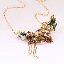 Франция LES Nereides 2016 Новый Leopard Кристалл Кисточки позолоченный Подвески Ожерелье Для Женщин Ювелирные Изделия Бесплатная Доставка