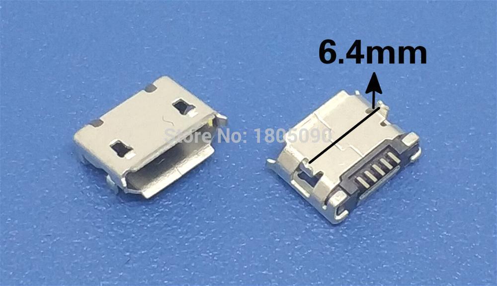 100pcs Micro USB Mini Connector 5pin 6.4mm Short Needle 5P DIP2 Data Port Charging Port Mini Usb Connector For Mobile End Plug
