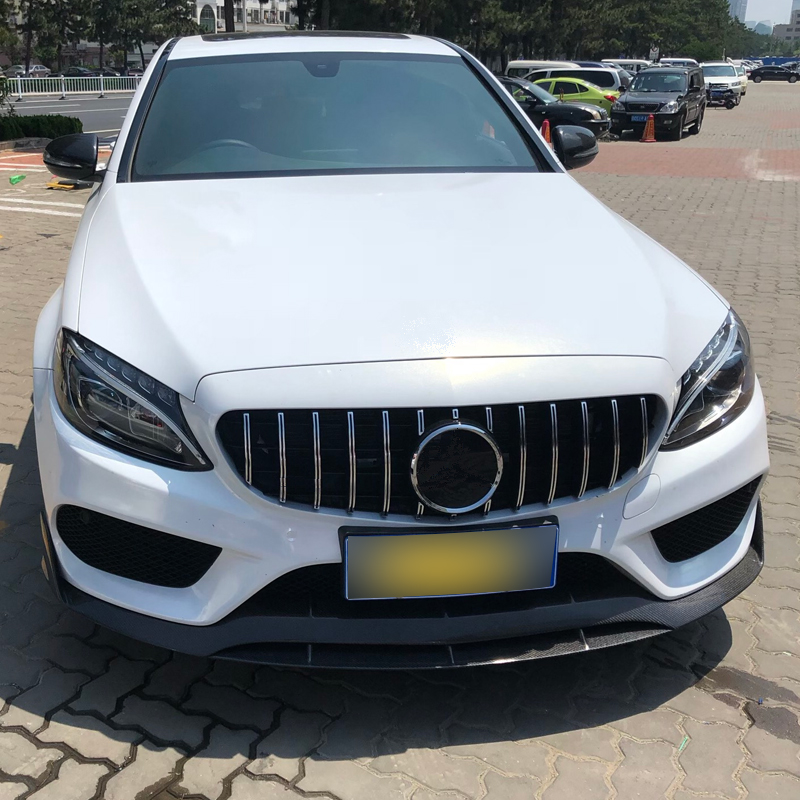 For Mercedes Benz C Class W205 2015+ C180 C200 C260 C300 AMG GT R Chrome Front Bumper ABS Grill Accessories Car Styling w205 abs car side fender vent trim e amg still for benz w205 c180 c200 c300 4 door not fit for c63 amg 2015 2018