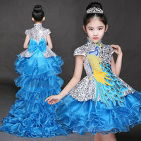freeship childrens girl blue/red peacock detachable trailing dance dress/party/event stage performance tutu dress