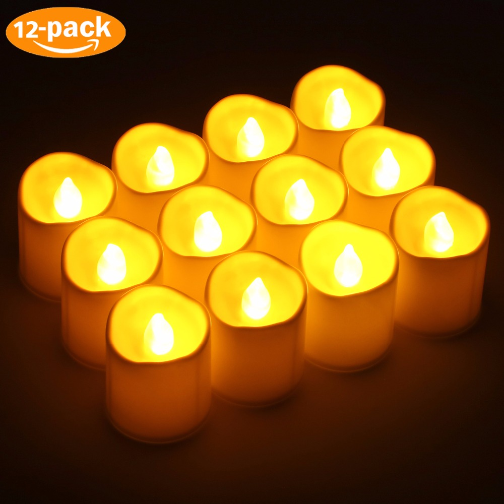 Kohree 12Pcs/set Flickering Led Candle Gentle Battery Wave Edge Tea Lights For Christmas House Marriage ceremony Occasion Church Lodge Decor