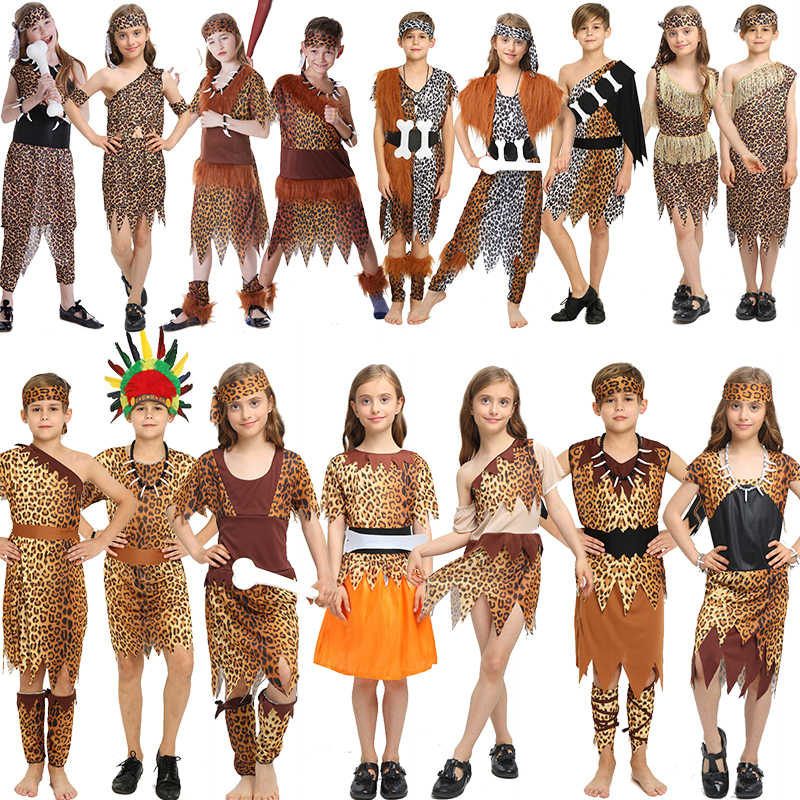 7b818cea6bd0 Cospiay Halloween native costume Indian leopard print Savages Adult Kids  dress Family fitted performance Clothing AMBESTPARTY