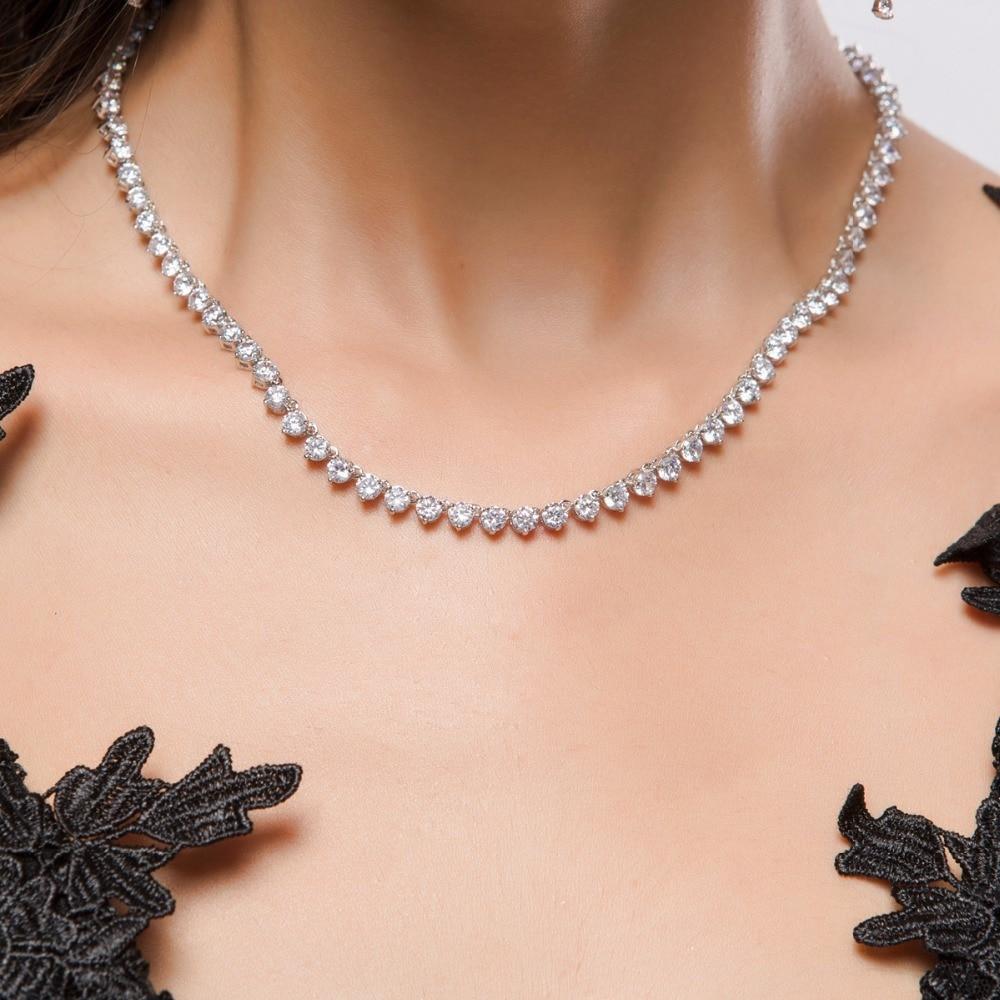 Ensemble de bijoux de luxe classique AAAAA CZ pour mariage mariée colliers de mariée boucles d'oreilles pour femmes bijoux cadeau d'anniversaire LX001S - 3