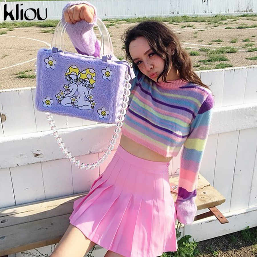 Kliou 2019 autumn women lovely colorful knitted sweater loose one size o-neck long sleeve pullovers girls cute crop tops