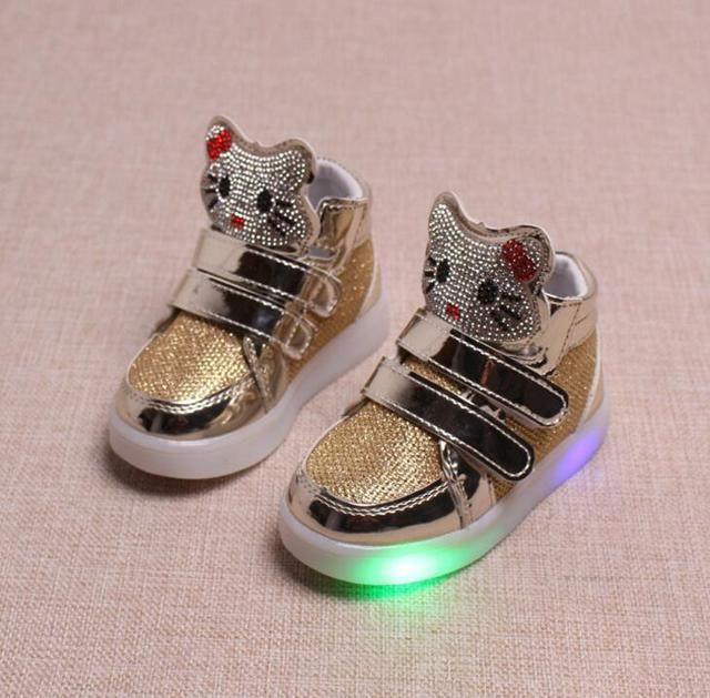 18231fe2b New Four Seasons Hot Model Toddler Hello kitty Sneakers Girls Lumineuse Children  Kids boy Led Lighting Casual Running Shoes