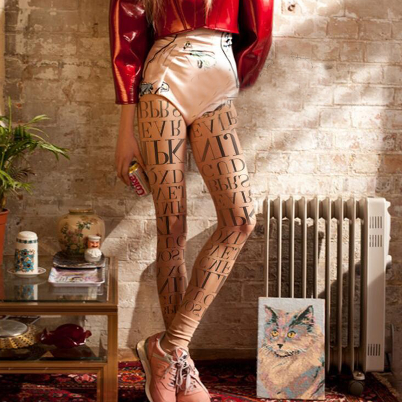 American Street Fashion Letters Printed Tights For Summer