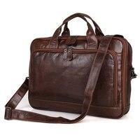 Nesitu Vintage Genuine Leather Men Leather Shoulder Bag 14 inch Laptop Briefcase Portfolio Business Travel Messenger Bags #M7005