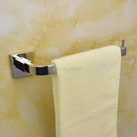 Wholesale And Promotions Retali Bathroom Single Towel Ring Towel Bar Square Polished Chorme SUS304 Stainless Steel