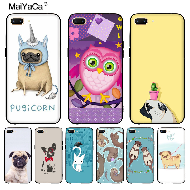 MaiYaCa tters Holding Hands pug dogs black soft cover phone Case for VIVO X20plus X9s case Coque for oppo R11 R9 PLUS CASE