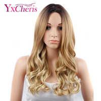 YxCheris fait à la main avant Ombre couleur longue Blonde perruques synthétiques pour les femmes noires/blanches haute température sans colle Cosplay perruque de cheveux