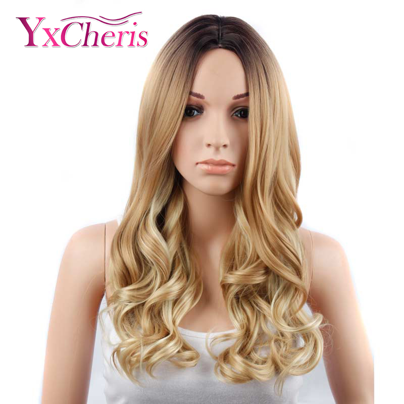 YxCheris Hand Made Front Ombre Color Long Blonde Synthetic Wigs For Black/White Women High Temperature Glueless Cosplay Hair Wig