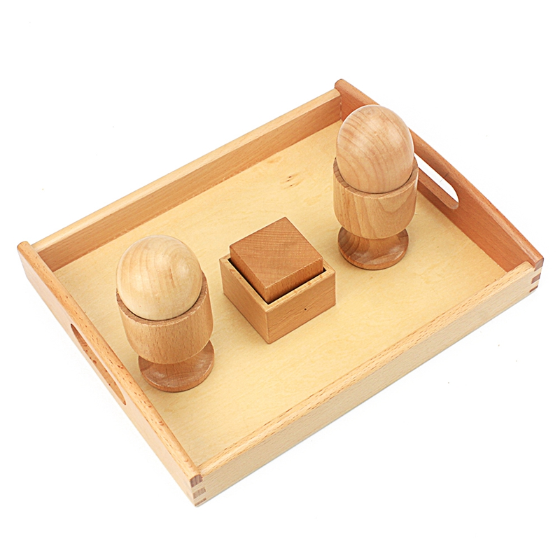 Unisex Baby Toy Montessori 3D Object Fitting Exercise Egg Ball With Cup Cube With Wooden Box Early Education Preschool Toys 2-4