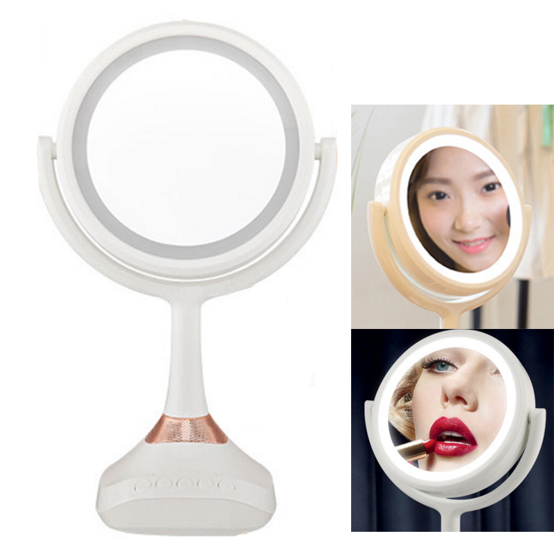 Desktop 7.5 Inch Makeup Mirror 2-Face ABS Mirror 5X Magnifying Cosmetic Mirror LED bluetooth music mirror 6 inch 5x magnification cosmetic makeup mirror round shape 2sided rotating magnifier mirror led light makeup mirror for gift