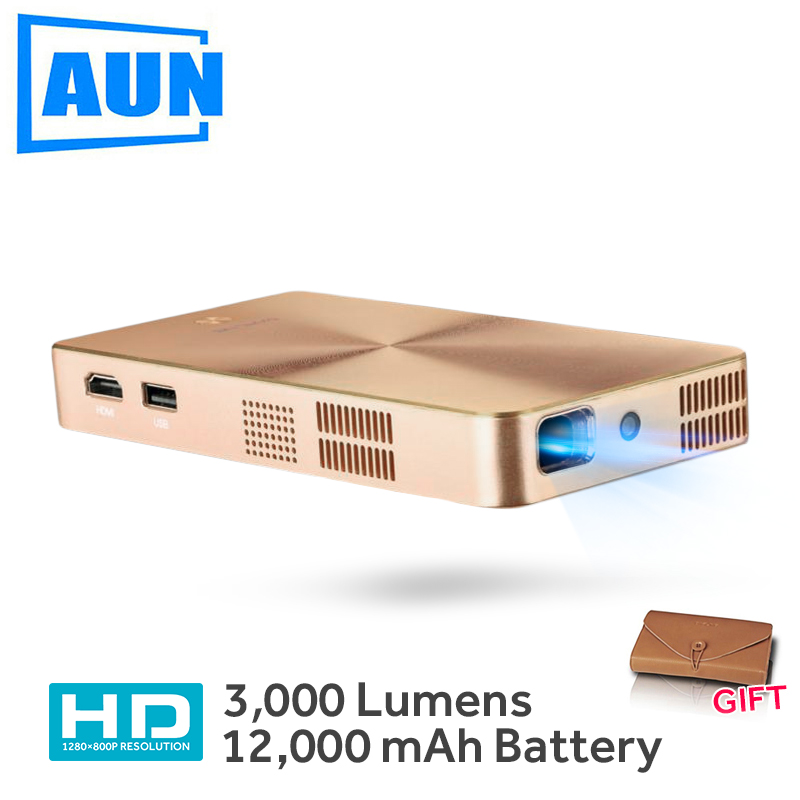 AUN MINI Projector D9 Built-in 12,000mAH Android 5.1 Battery 2.4G/5G WIFI, Bluetooth, . HDMI. Support 4K DLP Beamer aun new hd projector support wifi bluetooth built in android os 4 2 system 3d projector for home cinema led projector v5g5