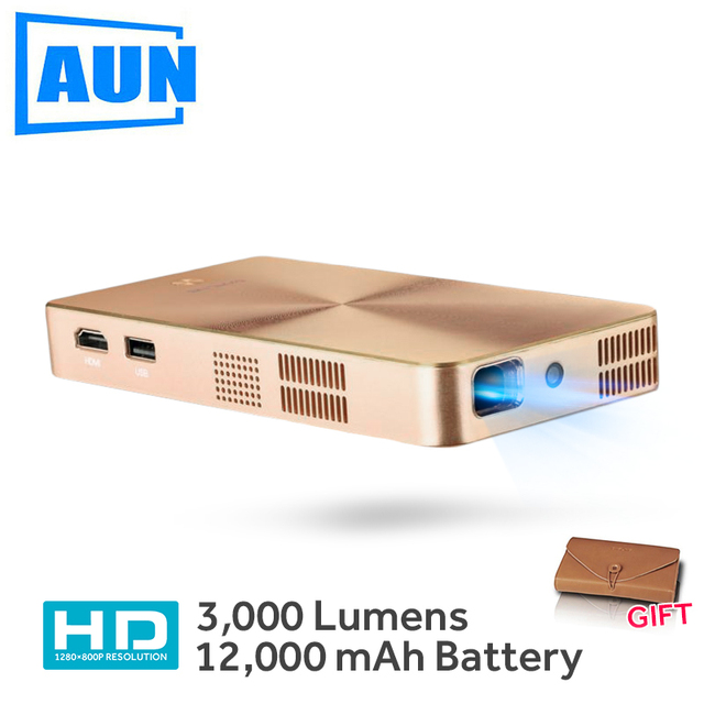 Cheap AUN MINI Projector D9 Built-in 12,000mAH Android 5.1 Battery 2.4G/5G WIFI, Bluetooth, . HDMI. Support 4K DLP Beamer
