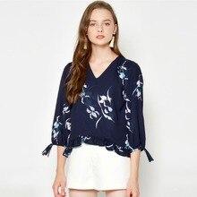 v-neck ladies blouses womens chiffon navy kimono shirt mujer blusas feminine summer spring floral shirts