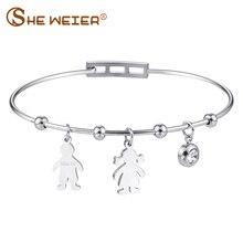 hot deal buy she weier couple bracelets & bangles stainless steel bracelet bangles for women fashion heart gifts for women life tree silver