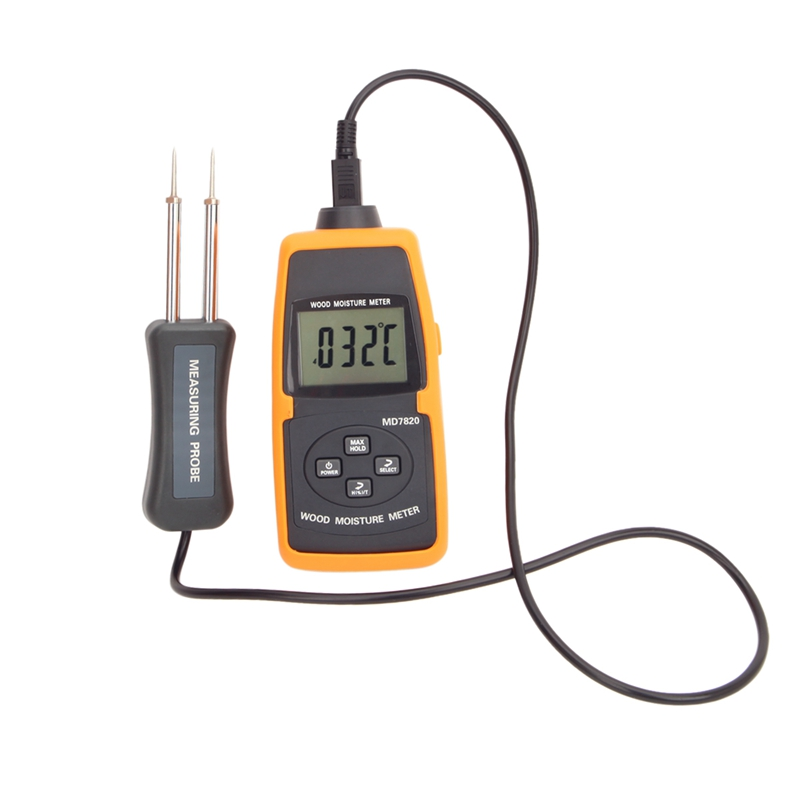 LCD Digital Wood Moisture Meter 2%-60% Tree Timber Wood Bamboo Paper Water Contain Level Temperature Measure Tools MD7820 high precision digital electric moisture meter wood timber plank humidity moisture content tester gauge with 11mm probe vc2ga