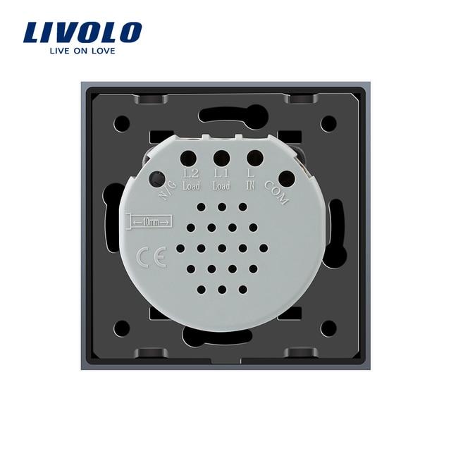 Livolo 2 Gang 1 Way Wall Touch Switch, White Crystal Glass Switch Panel, EU Standard,  220-250V,VL-C702-1/2/3/5 5
