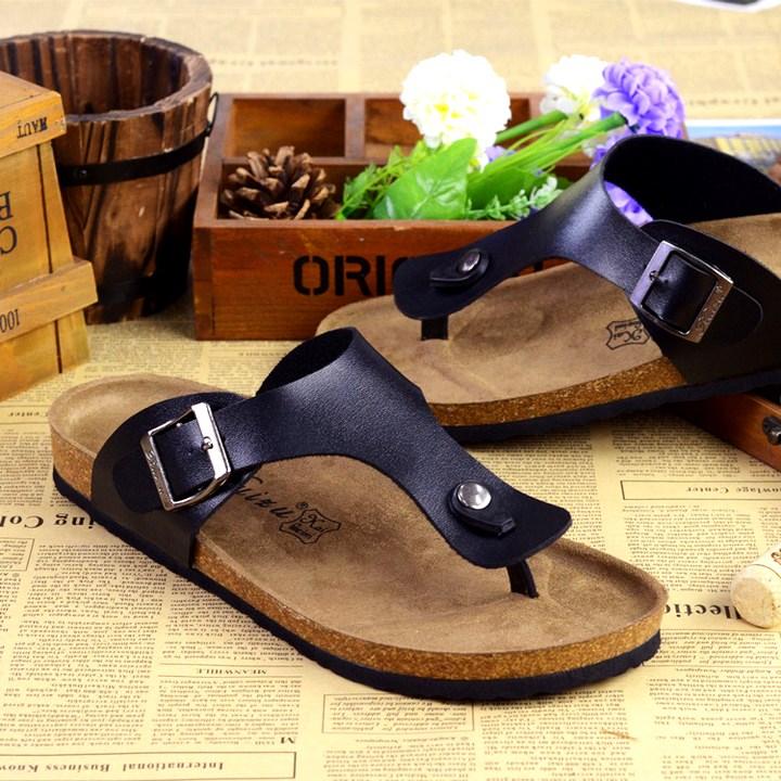 Unisex Women Men Summer Shoes European Popular Brand Cork Sandals Men Flip Flops Anti Slip Beach Sandals Men Cork Slippers slip-on shoe