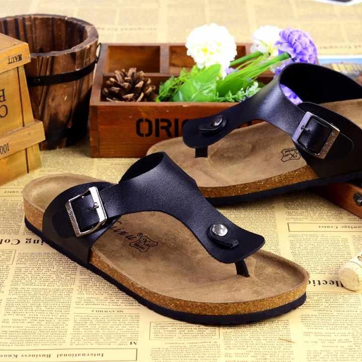 63d5cc68b6 Unisex Women Summer Shoes European Popular Brand Cork Sandals Flip Flops  Anti Slip Beach Sandals Cork Slippers