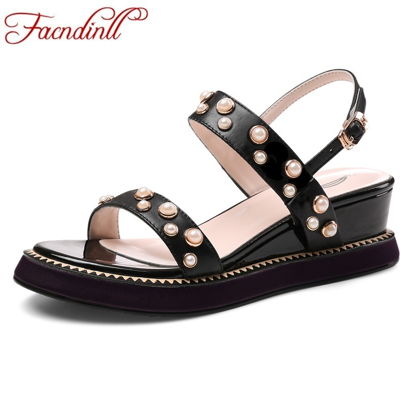 FACNDINLL fashion summer genuine leather women sandals wedges high heels open toe shoes woman casual date shoes platform sandal facndinll new women summer sandals 2018 ladies summer wedges high heel fashion casual leather sandals platform date party shoes