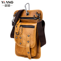 Men Cowhide Genuine Leather Casual Crossbody Shoulder Bag Hook Waist Fanny Pack Purse Pouch Cell Phone