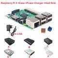 Raspberry Pi 3 Доска + 5 В 2.5A Питания + Чехол + Тепло раковина Для Raspberry Pi 3 Модель B PI 3 Wi-Fi и Bluetooth Бесплатно доставка
