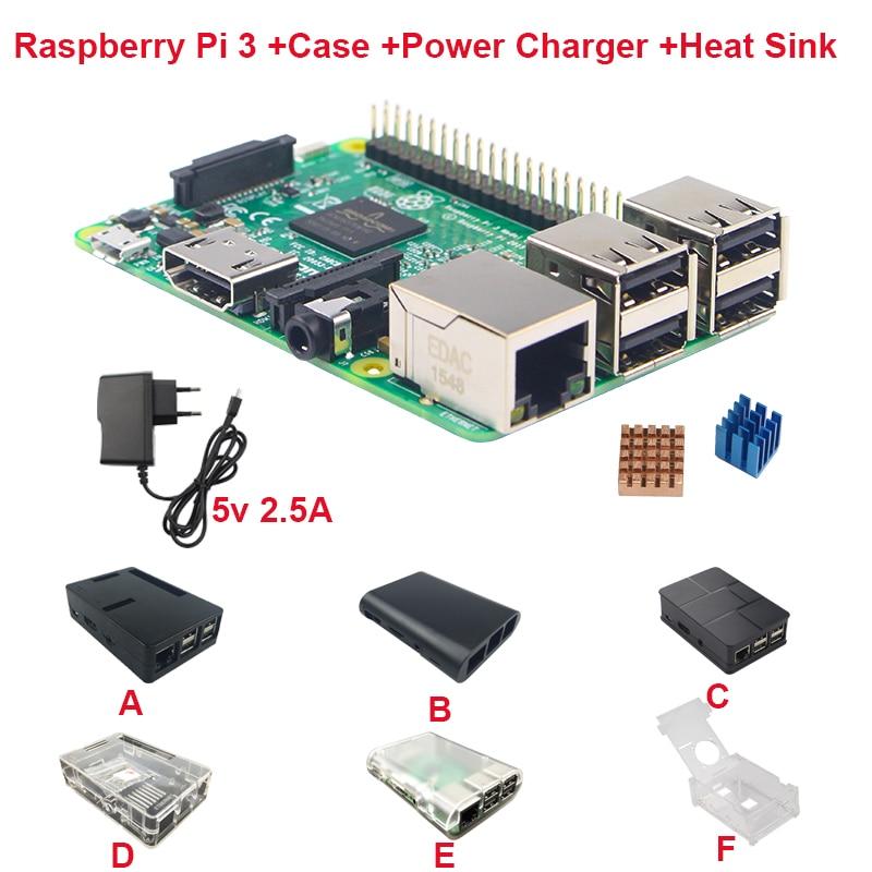 Raspberry pi 3 board 5v 2 5a power supply case heat sink for raspberry pi 3