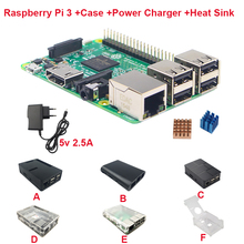 Raspberry Pi 3 Board + 5V 2.5A Power Supply + Case + Heat Sink For Raspberry Pi 3 Model B PI 3 WiFi & Bluetooth Free Shipping