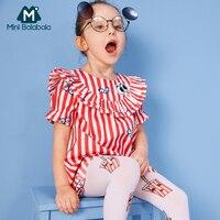 MiniBalabala/платье с короткими рукавами и оборками для девочек; 100% г.; Мягкое хлопковое детское платье в полоску с аппликацией для девочек