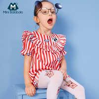 MiniBalabala Girl Short-sleeved Ruffle-Trimed Dress in 100% Soft Cotton Children Kids Girl Striped Dress with Applique