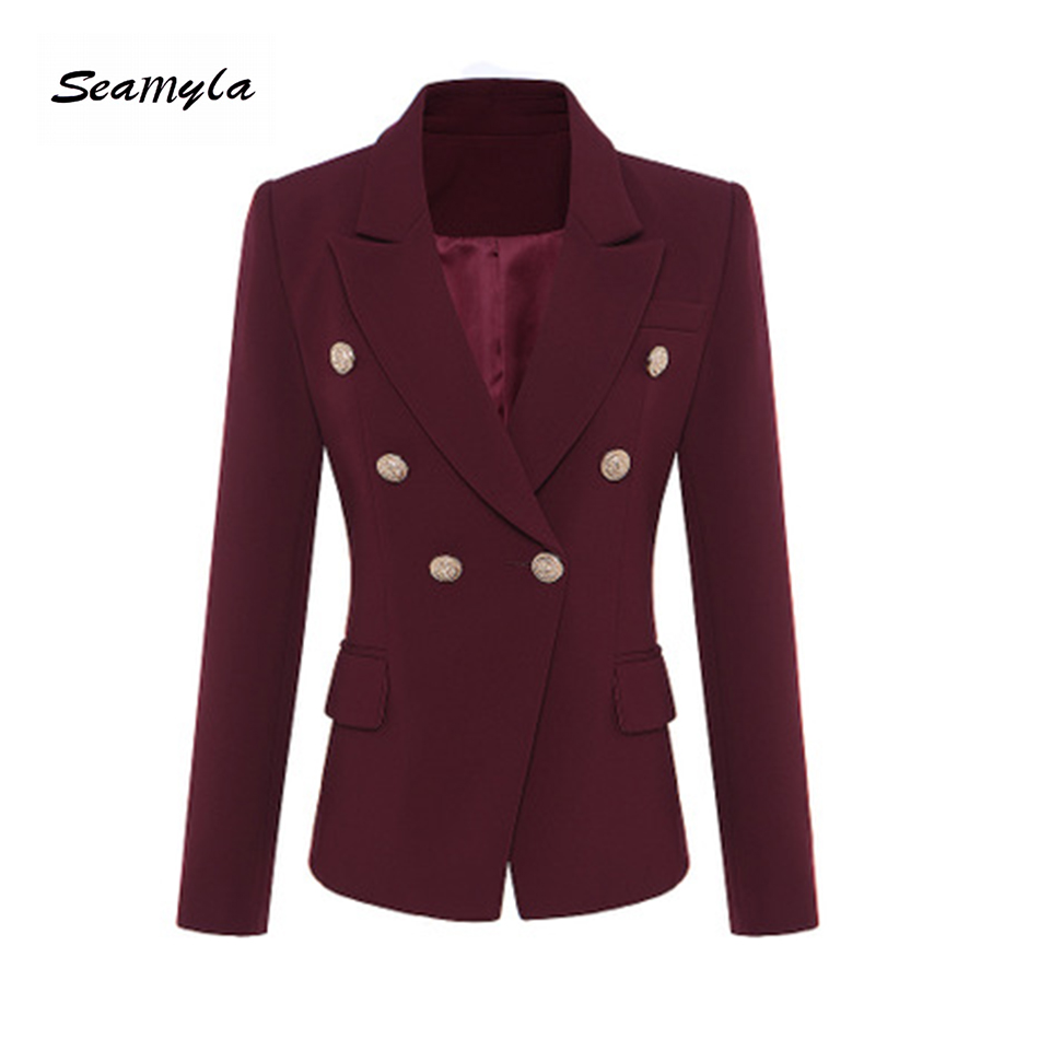 Seamyla 2018 Women Jacket Fashion Gold Lion ButtonS Double Breasted Runway Jackets Long Sleeve Purplish Red Ourterwear Coats