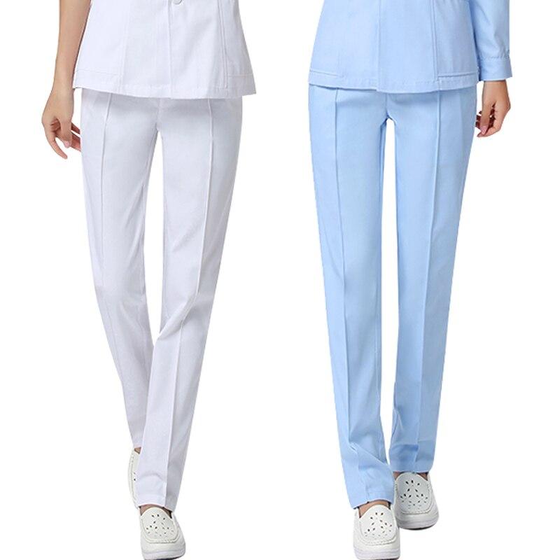 Cotton Nurse Uniform Pants Beautiful Uniforms Pants White Summer Elastic Waist Large Size Doctor Trousers Bottonms