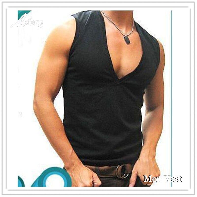 1Pcs Hot Sale Men Cotton Tees Mens V-Neck Vest Men's Cotton Bodybuilding Tees Man Tank Top Male Sexy Casual Tops Men Shirt