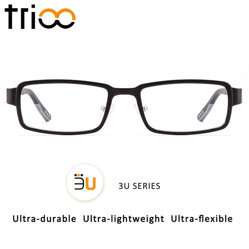TRIOO 3U Series Suqare Mens Reading Glasses Quality Ultem Myopia Eyeglasses Minus Spectacles Anti Blue Ray