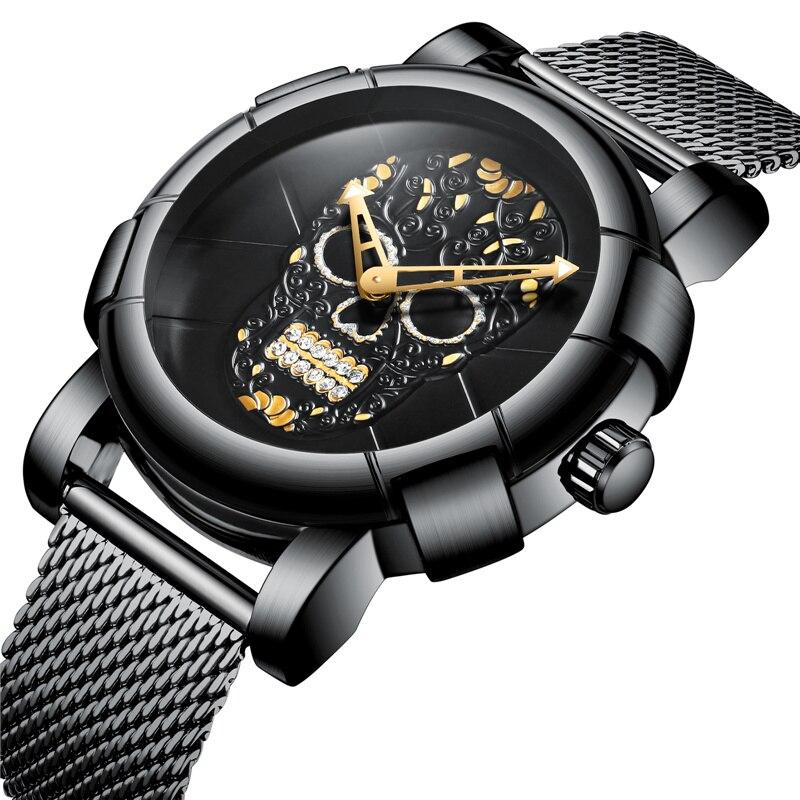 Men Skull Watches Luxury Brand Stainless Steel Water Resistant Quartz Wristwatch BIDEN Black Silver Mesh Steel Military Watch