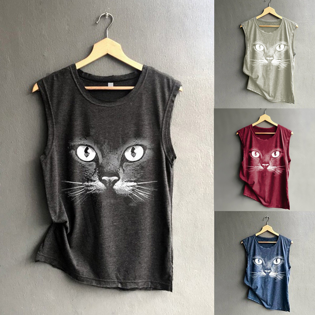 Reliable Womens Tops And Blouses 2019 Fashion O-neck Cat Printing Sleeveless Vest Blouse Loose Shirt Tops Women Shirt Camisas Mujer Women's Clothing