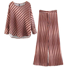 Купить с кэшбэком 2 piece set women Women's suit Europe and the United States loose fashion simple striped pajamas suit
