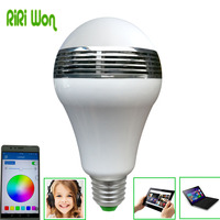 RiRi won RGB LED bluetooth Lamp Lampen licht E27 Gloeilamp Smart Power Helderheid Lampada LED Kleur Veranderende