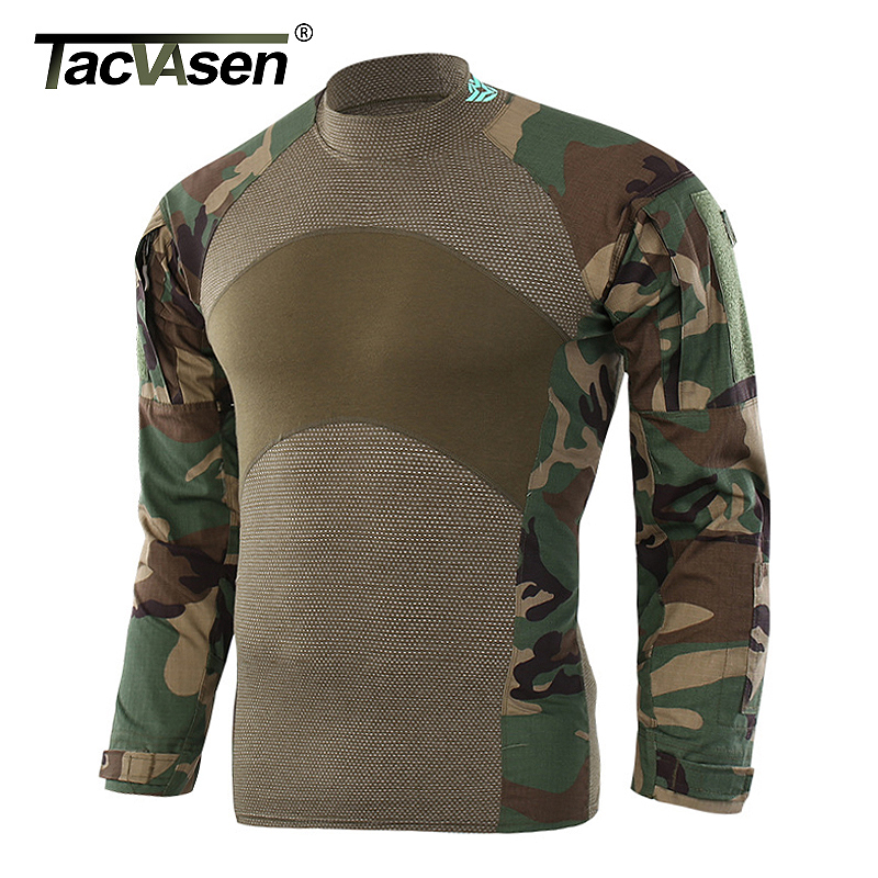 TACVASEN Men Camouflage Tactical T shirt Army Green Combat T Shirts Men Long Sleeve Military Shirt Men's Rip stop Hunt Outwear