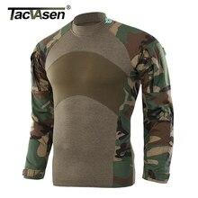 Tacvasen tático t shirts camuflagem airsoft combate do exército t camisas dos homens de manga longa assalto militar camisa masculina caça roupas
