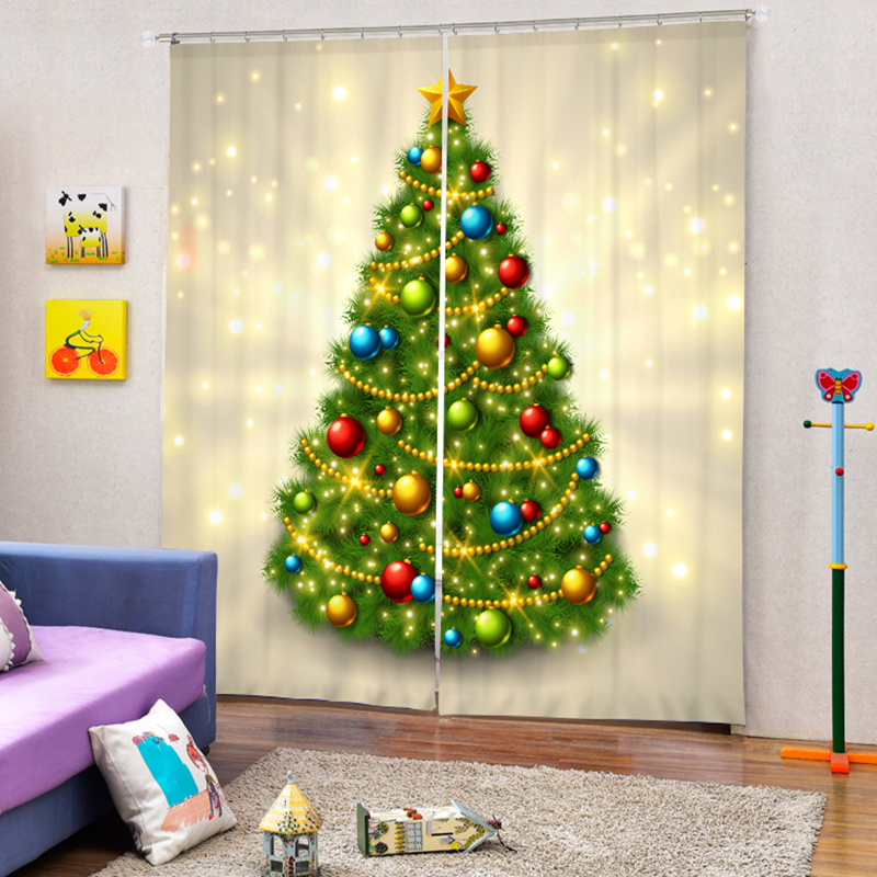 Christmas Tree Bling 3D Printing Thicken Blackout Curtain Custom Childrens For Living Room Kids