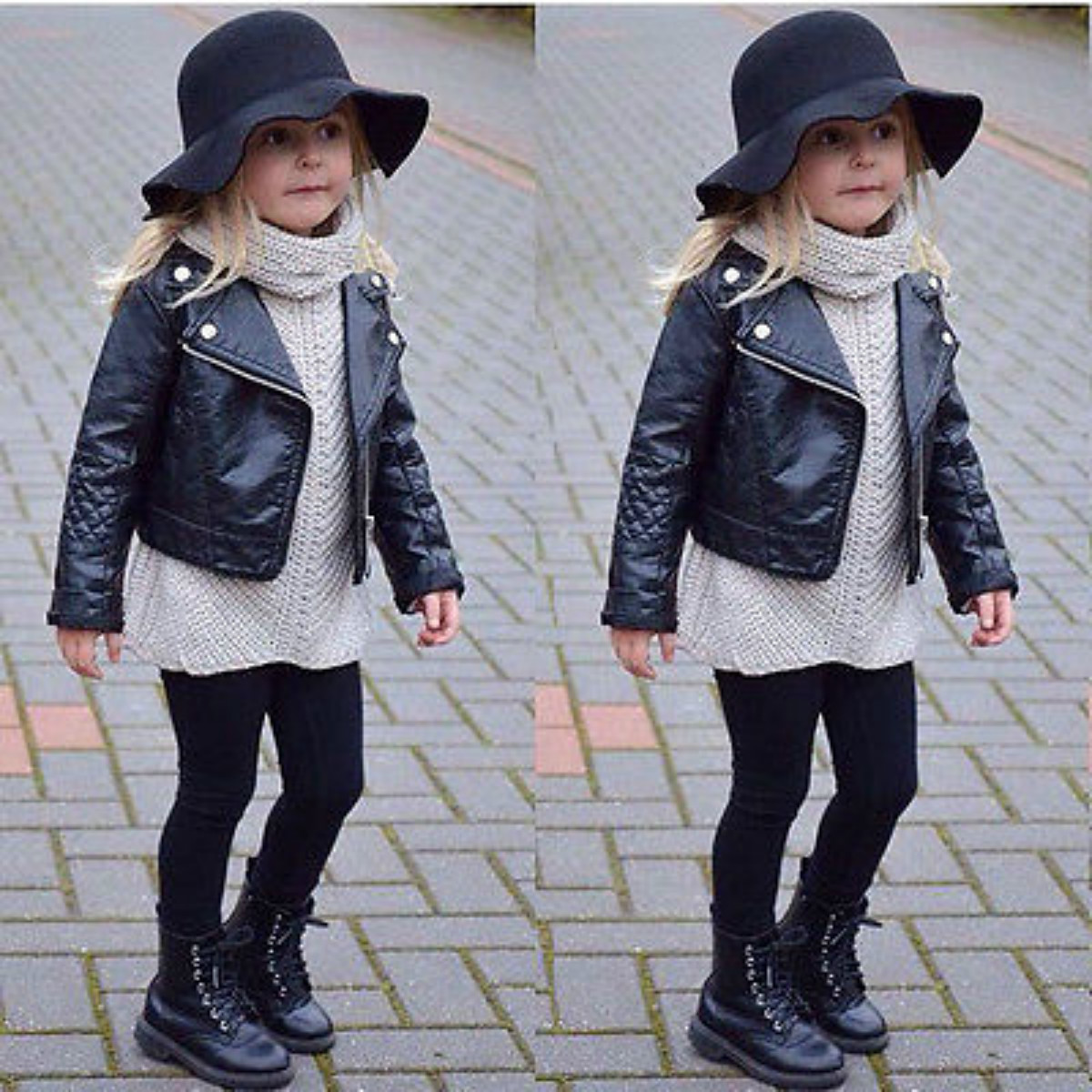 Leather jackets for kids - Child Toddler Kids Girls Clothing Faux Leather Pu Jacket Zippered Thin Coats Size 2 7